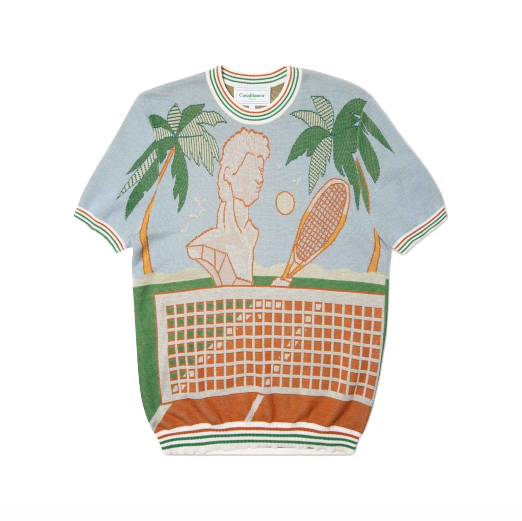 CASABLANCA DEUCE BIRDS EYE JACQUARD KNIT TEE - TENNIS COURT