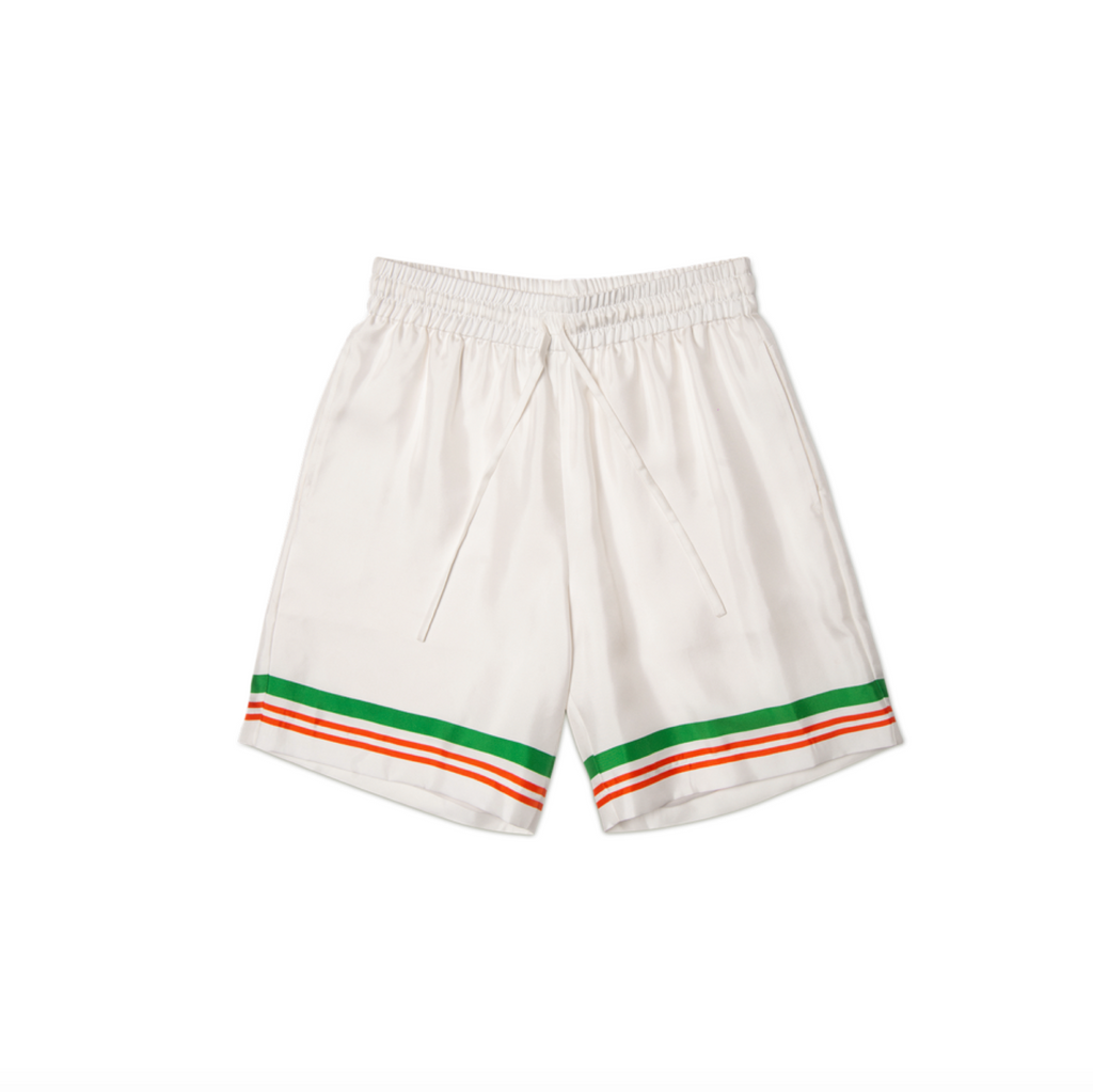 CASABLANCA CASA TENNIS CLUB PRINT SILK SHORTS