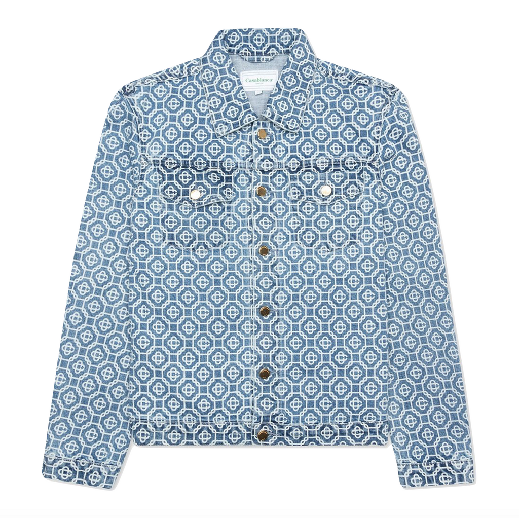 CASABLANCA JACQUARD LOGO DENIM JACKET - SUNBLEACHED