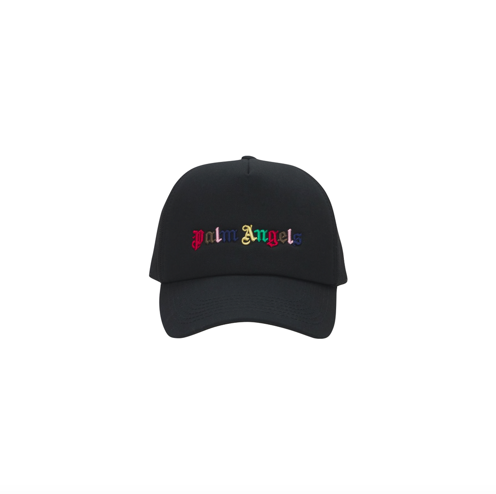 PALM ANGELS RAINBOW LOGO CAP - BLACK/ MULTICOLOR