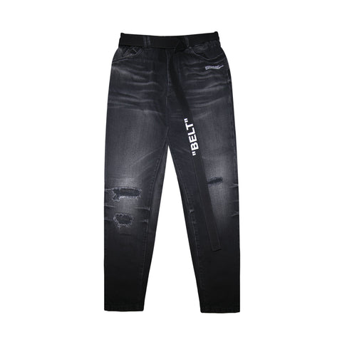 SLIM LOW CROTCH JEANS - BLACK CLAY/ WASH WHITE