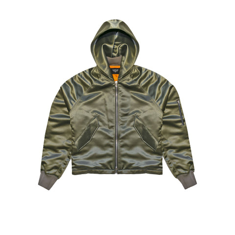 SATIN HOODED BOMBER - SAGE