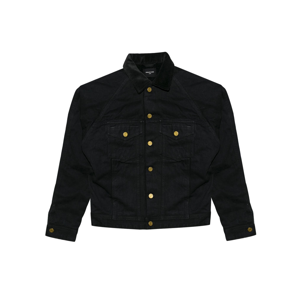5TH COLLECTION SELVEDGE DENIM ALPACA TRUCKER JACKET - BLACK