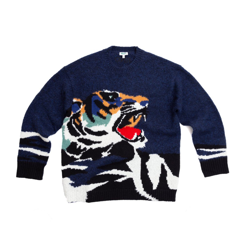 TIGER INTARSIA SWEATER - NAVY BLUE