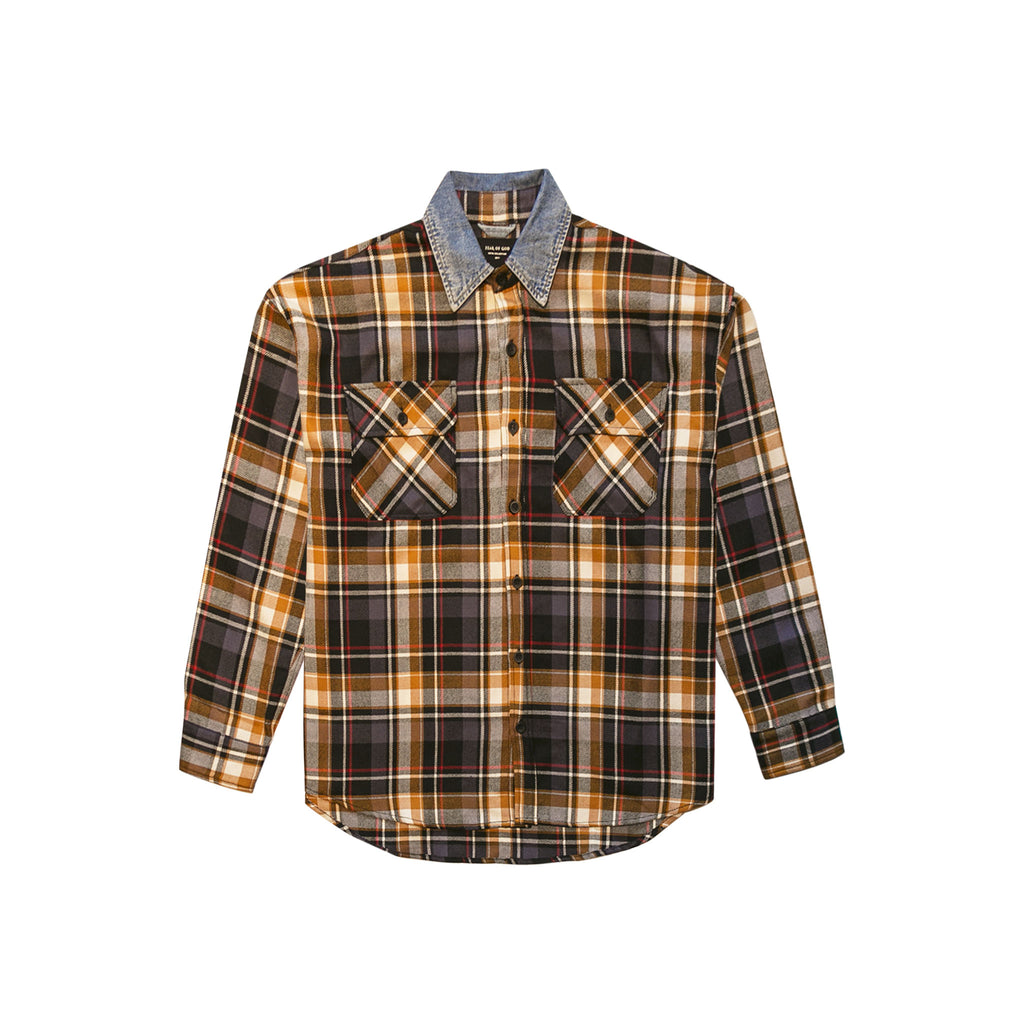 5TH COLLECTION DENIM COLLARED FLANNEL - PURPLE PLAID