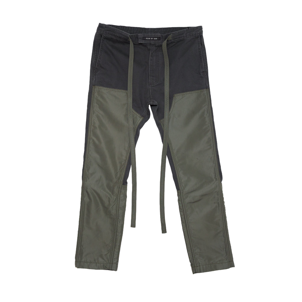 6TH COLLECTION NYLON CANVAS DOUBLE FRONT WORK PANT  - FOREST/ARMY GREEN