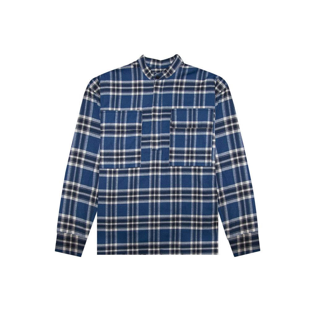 6TH COLLECTION PLAID PULLOVER HENLEY - BLUE PLAID