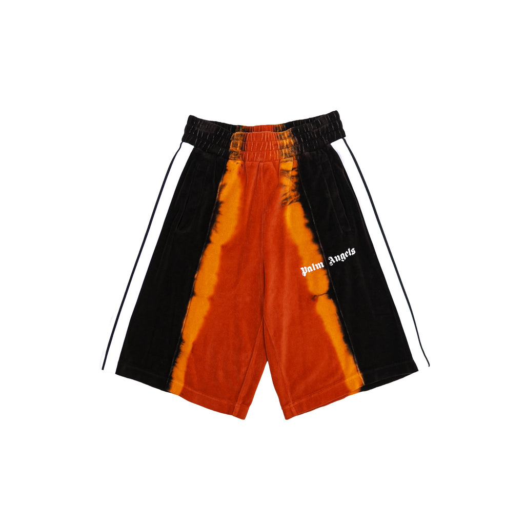 TIE DYE CHENILLE TRACK SHORTS - RED/ BLACK