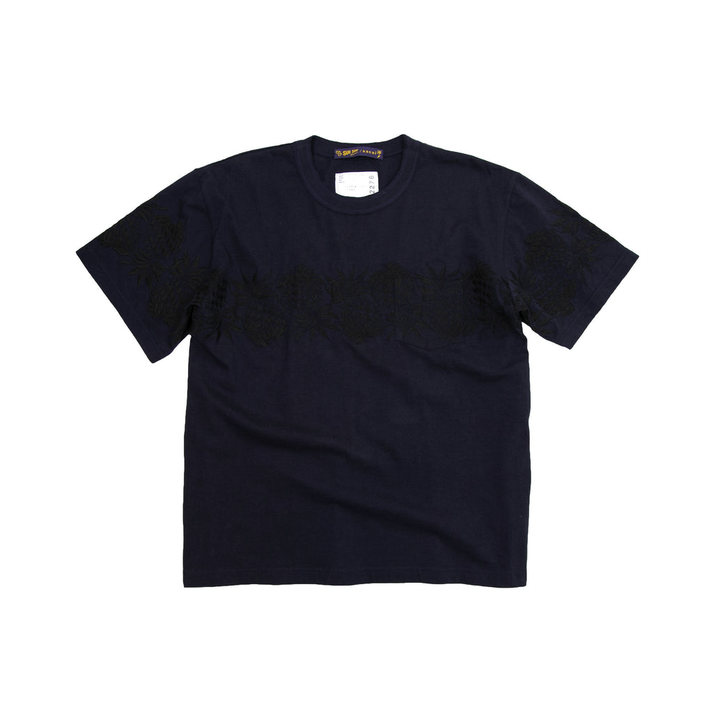 SUN SURF/ PINEAPPLE EMBROIDERY TSHIRT - BLACK