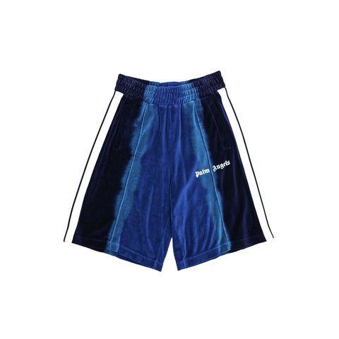 TIE DYE CHENILLE TRACK SHORTS - LIGHT BLUE/ BLUE