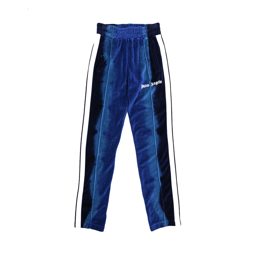 TIE DYE CHENILLE TRACK PANTS - LIGHT BLUE/ BLUE