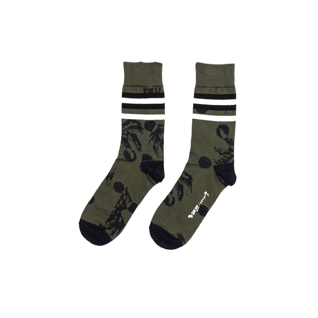 PALM TREE SOCKS LONG - KHAKI/ NAVY