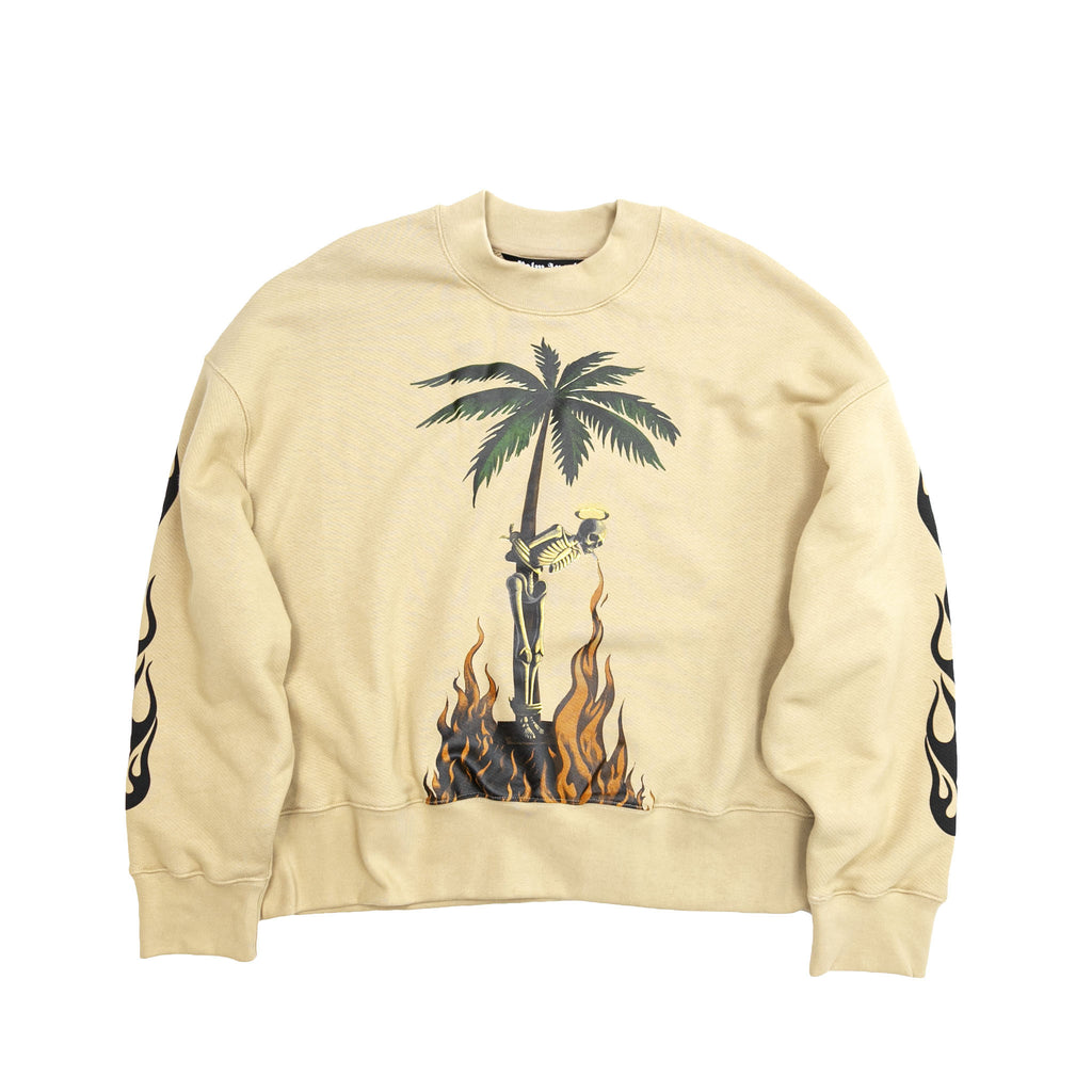 BURNING SKELETON CREWNECK - BEIGE
