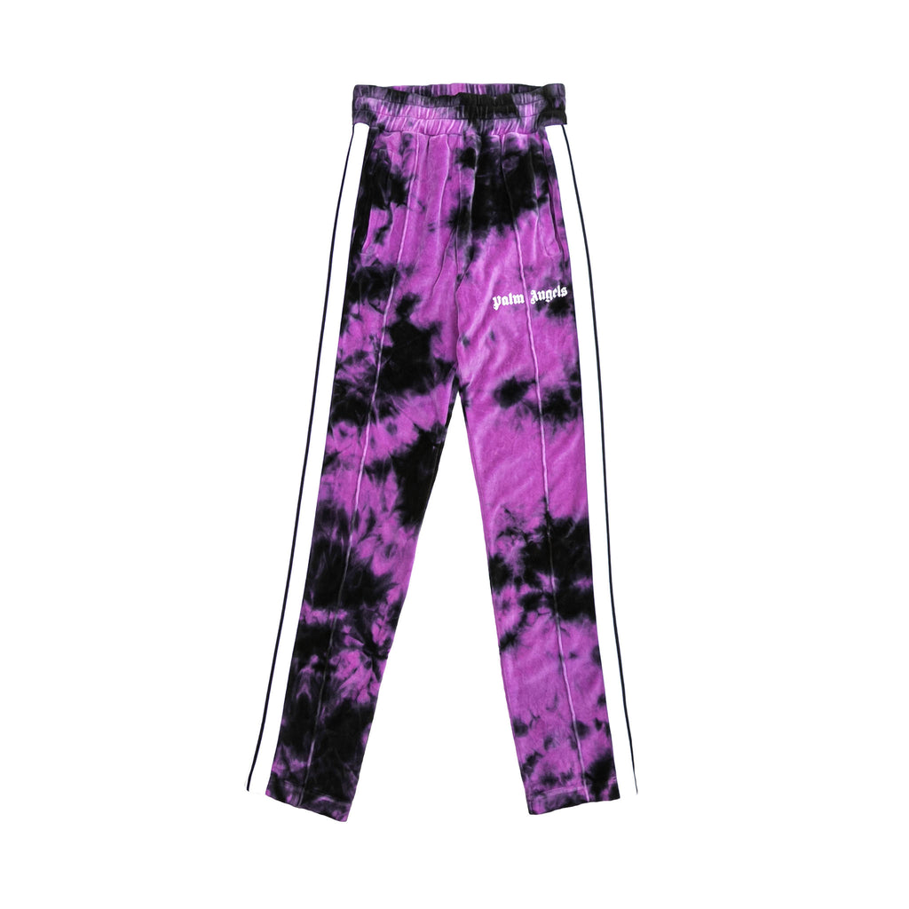 TIE DYE CHENILLE TRACK PANTS - BLACK/ BABY PURPLE