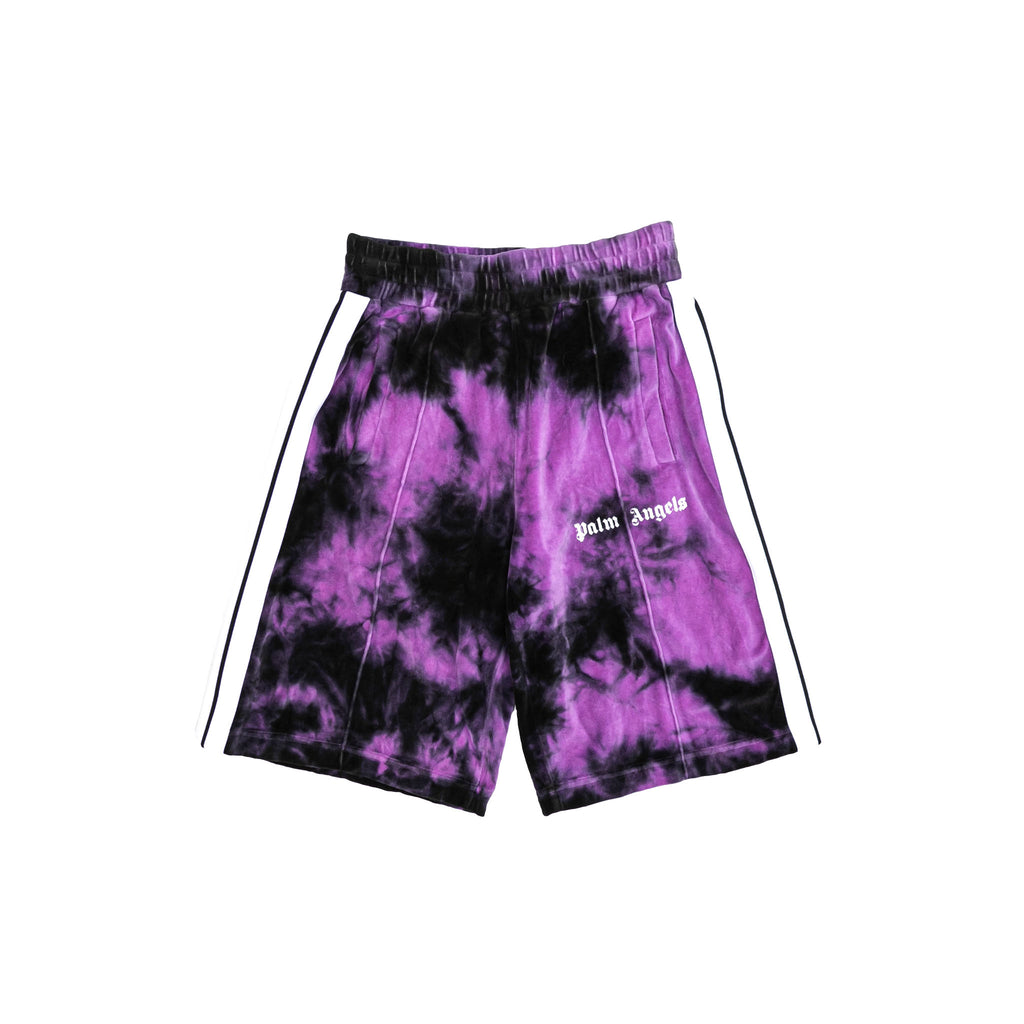 TIE DYE CHENILLE TRACK SHORTS - BLACK/ BABY PURPLE