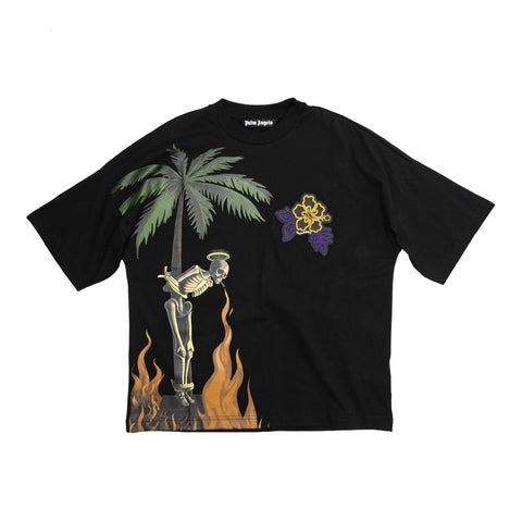 BURNING SKELETON OVER TEE - BLACK