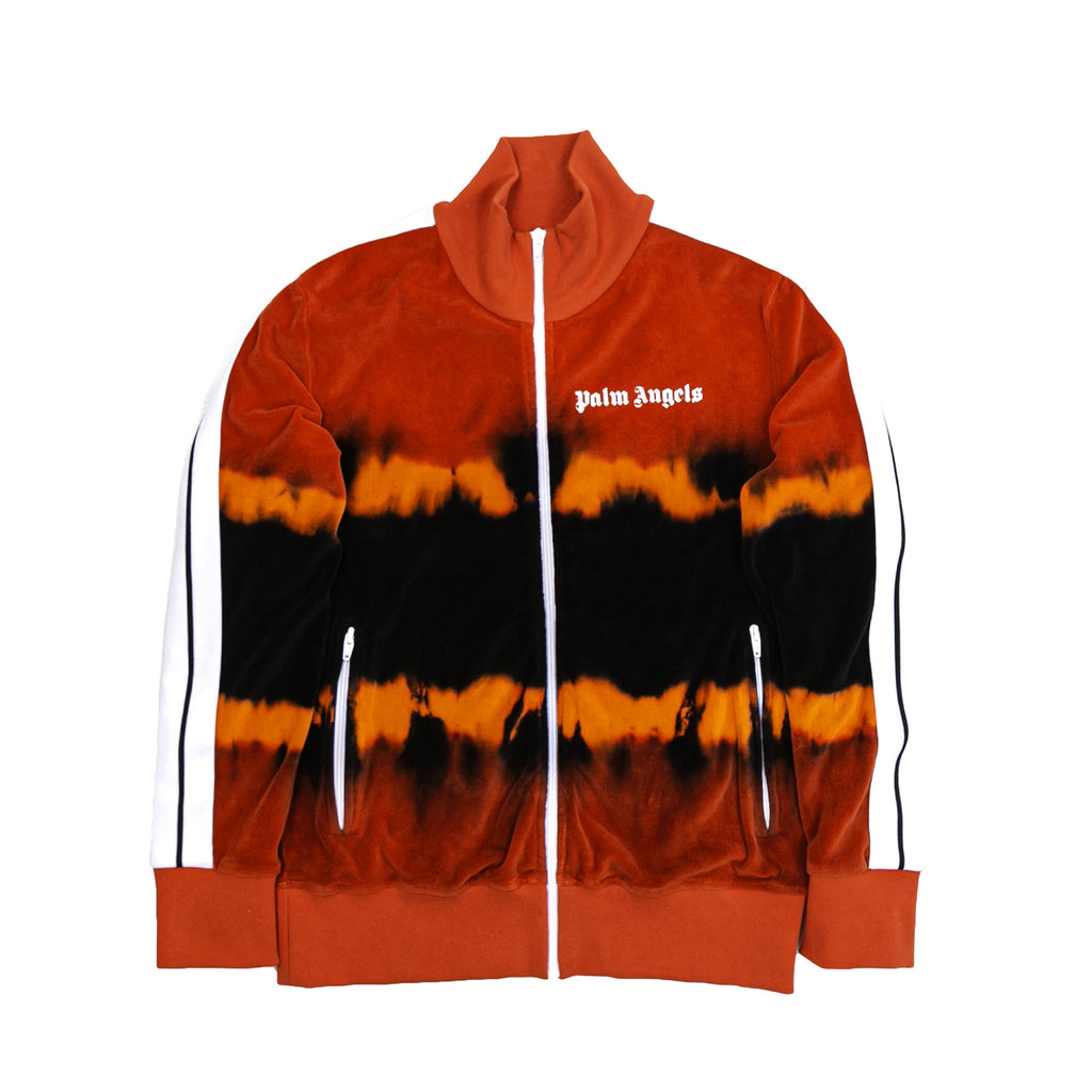 TIE DYE CHENILLE TRACK JACKET - RED/ BLACK