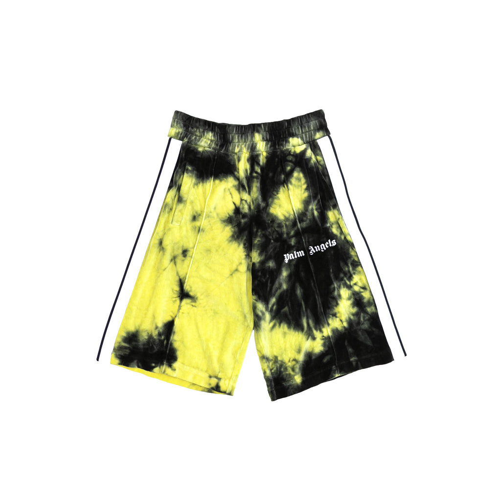 TIE DYE CHENILLE TRACK SHORTS - BLACK/ YELLOW