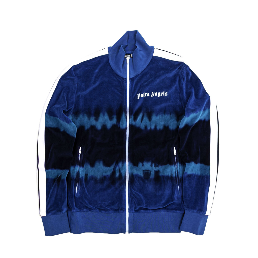 TIE DYE CHENILLE TRACK JACKET - LIGHT BLUE/ BLUE