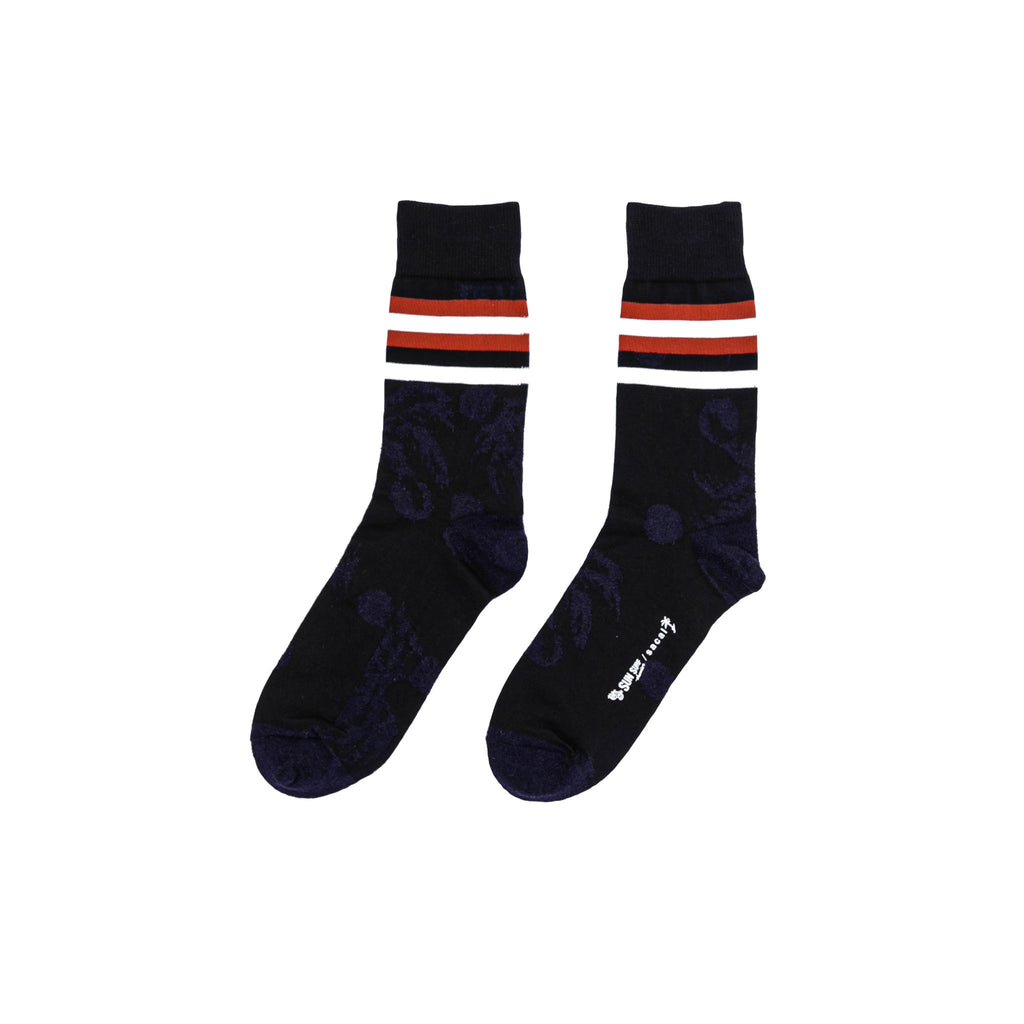 PALM TREE SOCKS LONG - BLACK/ NAVY