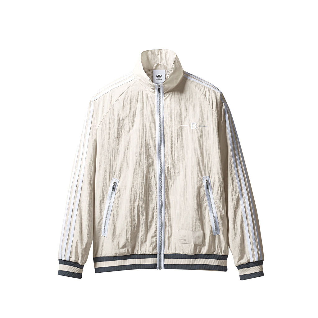 ADIDAS ORIGINALS BY BRISTOL WARM-UP TRACK TOP - CLEAR BROWN/ WHITE