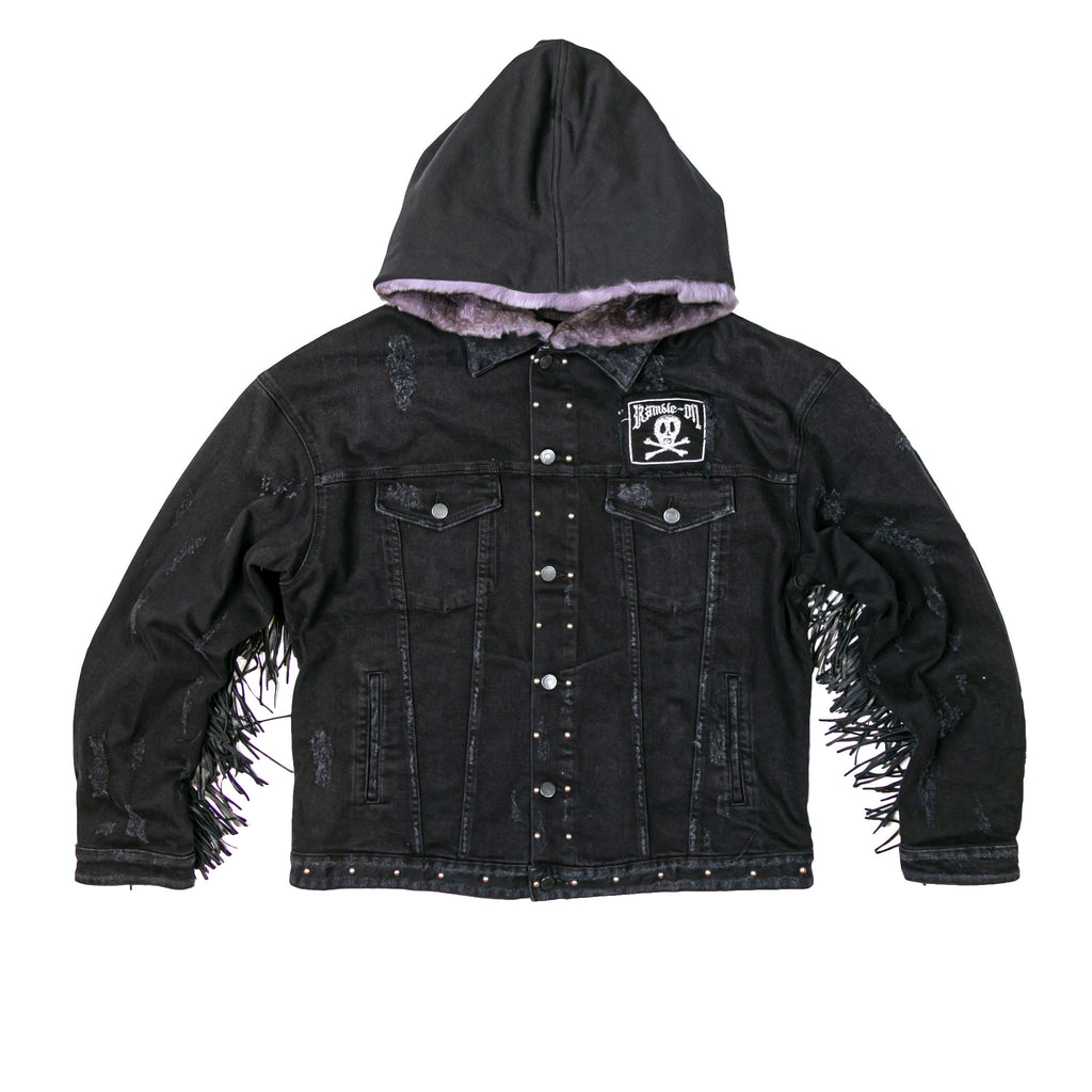 FLEETWOOD FUR HOOD DENIM TRUCKER - BLACK