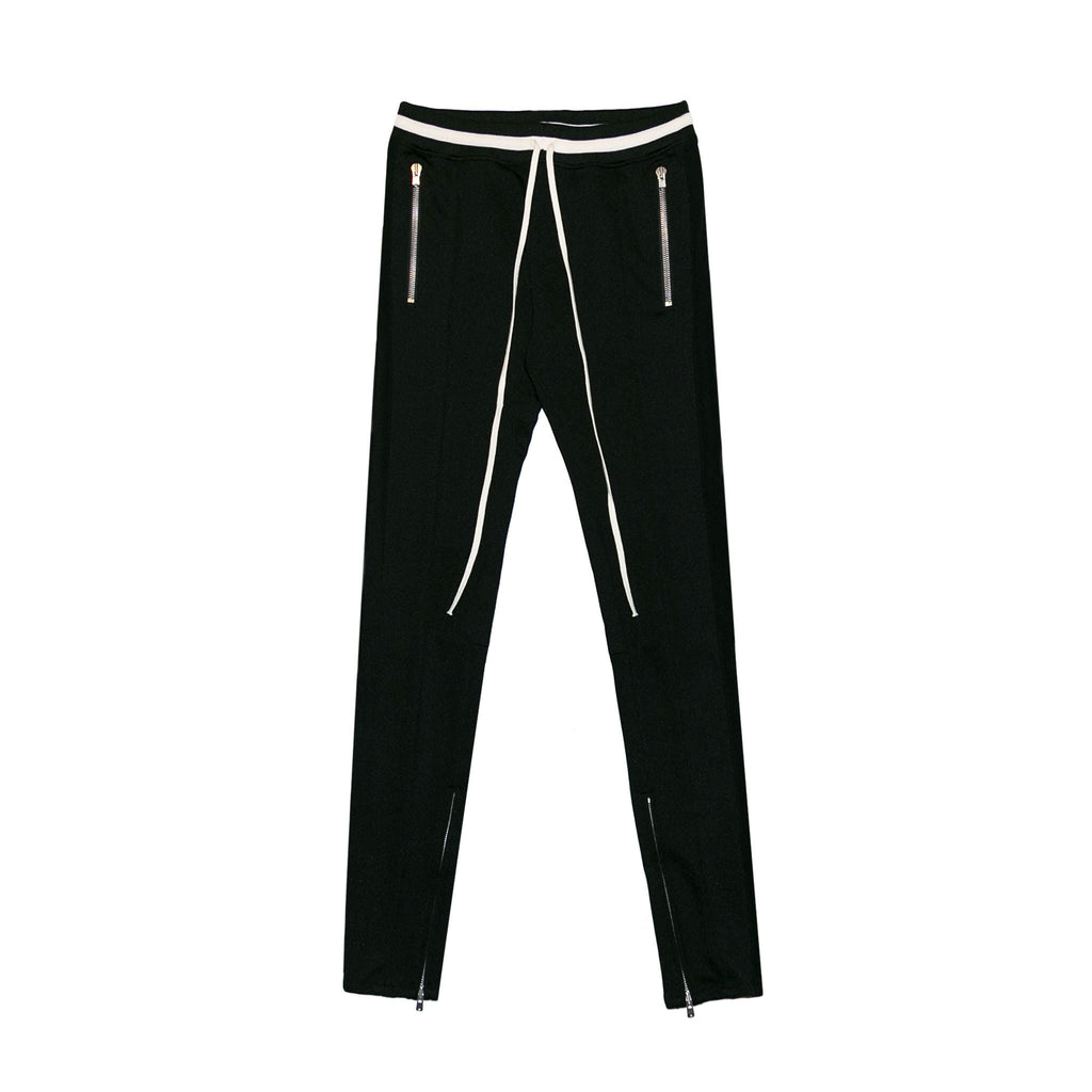 DRAWSTRING TRACK PANTS - BLACK
