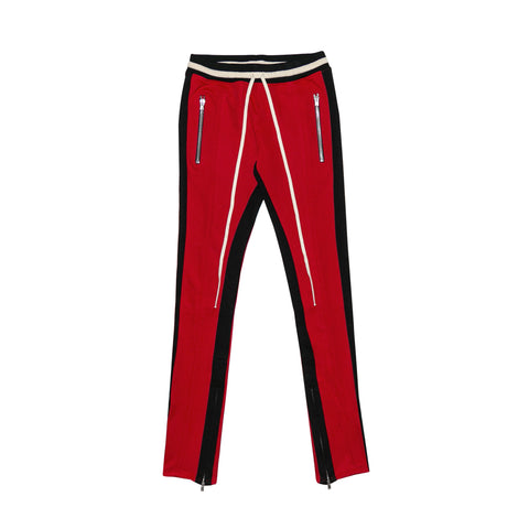 DOUBLE STRIPED TRACK PANTS - RED