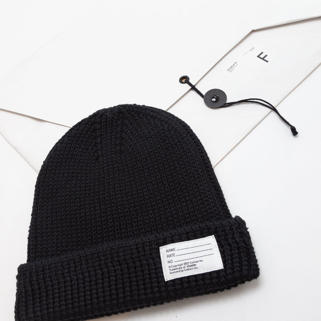 KNIT BEANIE (COTTON) - BLACK