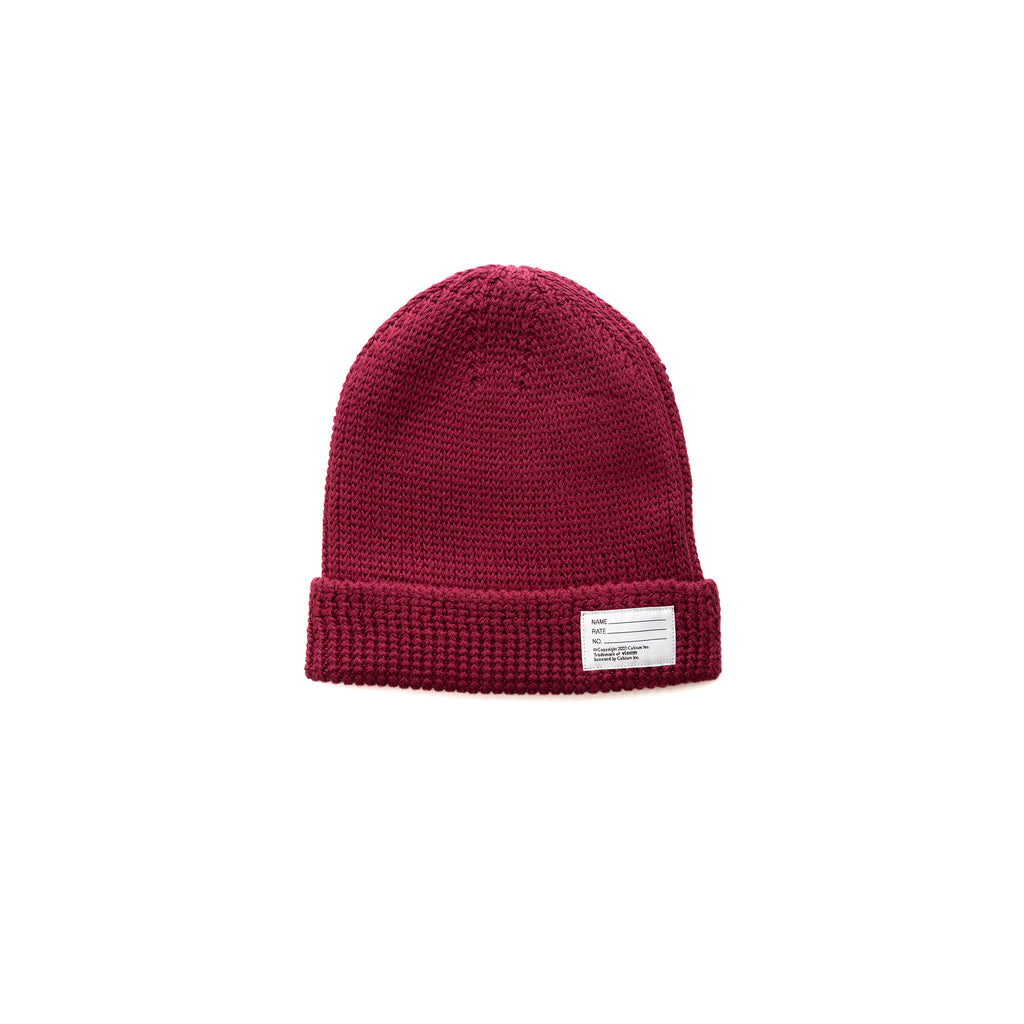 KNIT BEANIE (COTTON) - BURGUNDY