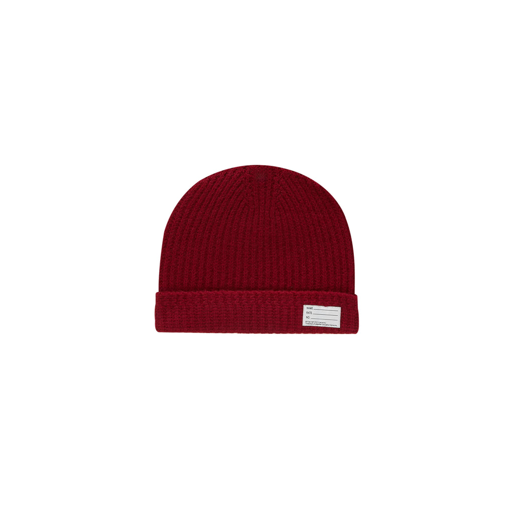WOOL KNIT BEANIE - BURGUNDY