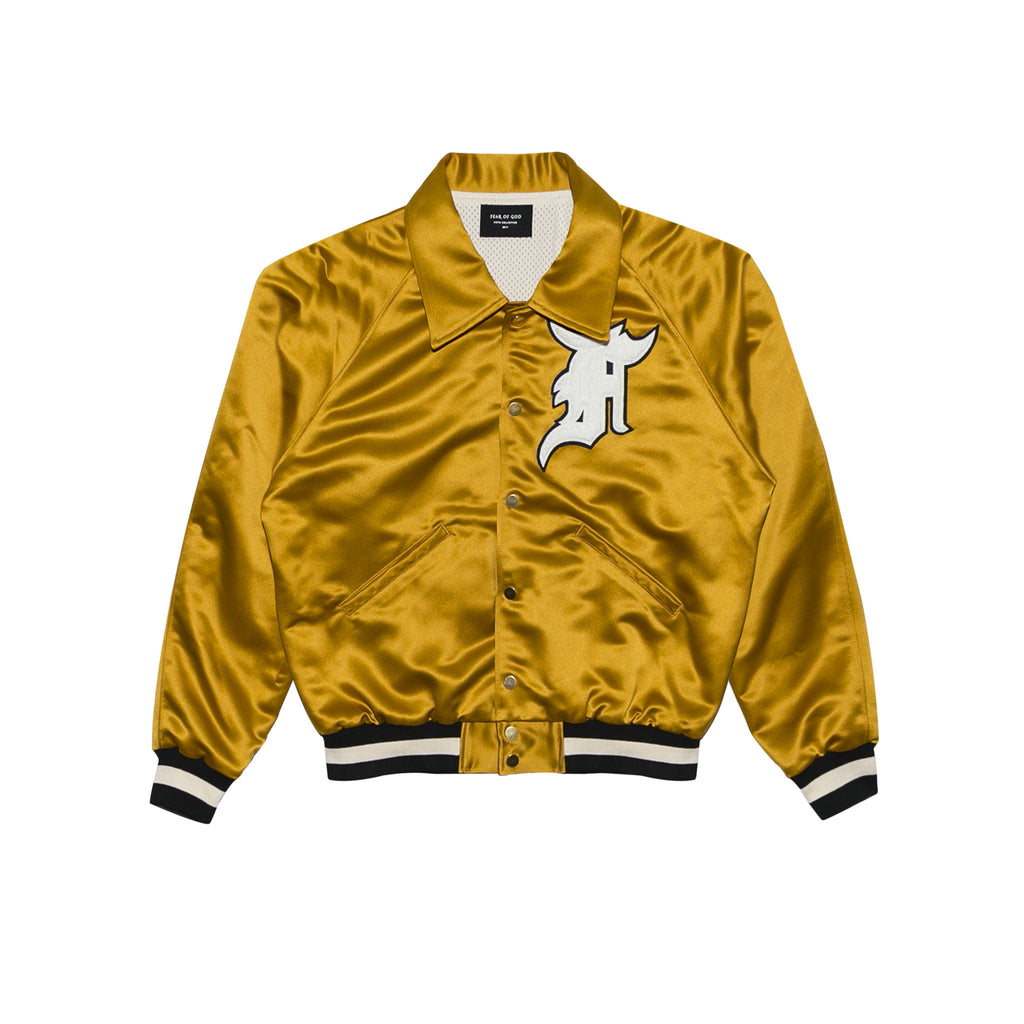 SATIN BASEBALL COACHES JACKET - GOLD