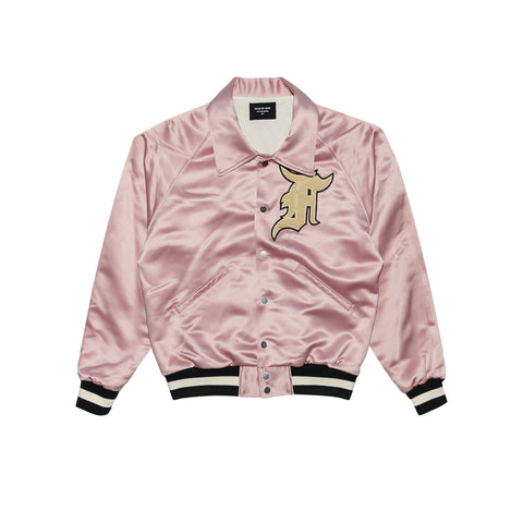 SATIN BASEBALL COACHES JACKET - BLUSH
