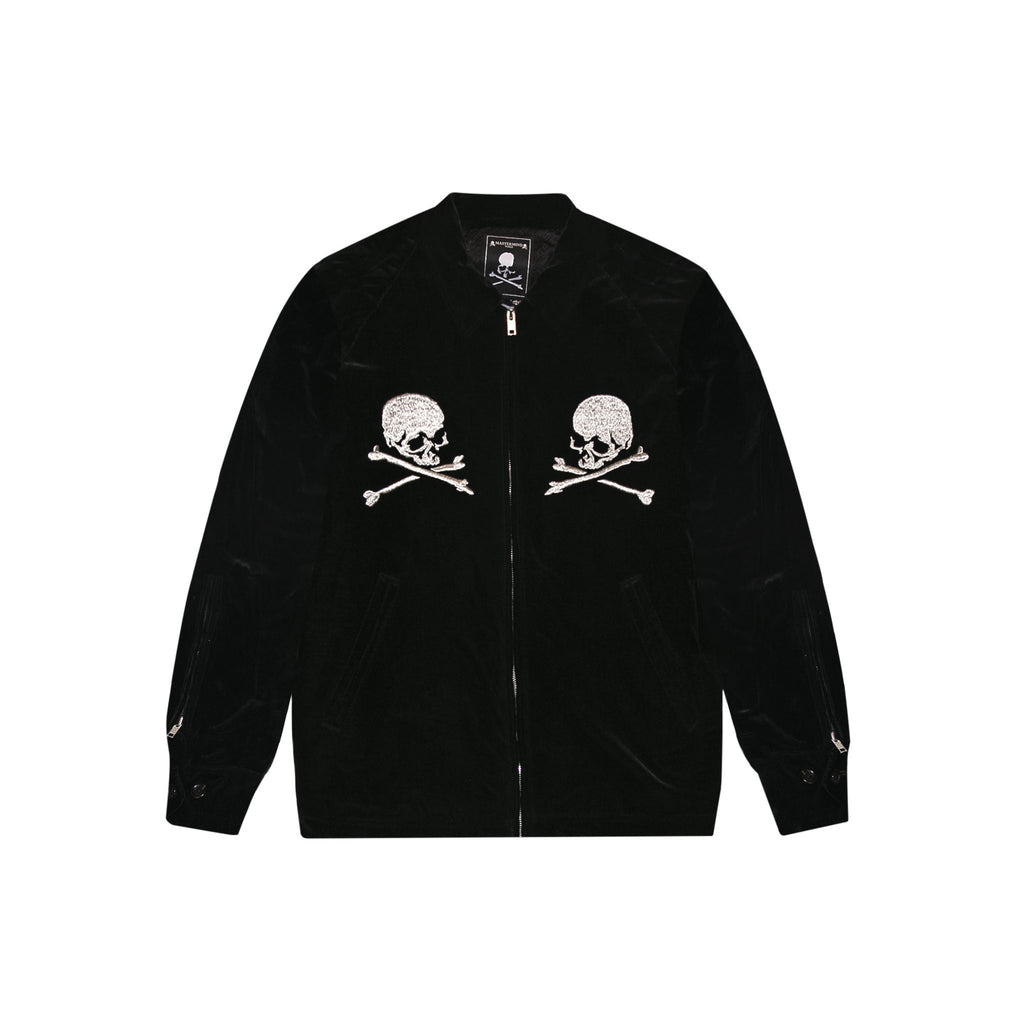 MASTERMIND WORLD VELVET SKULL JACKET  - BLACK