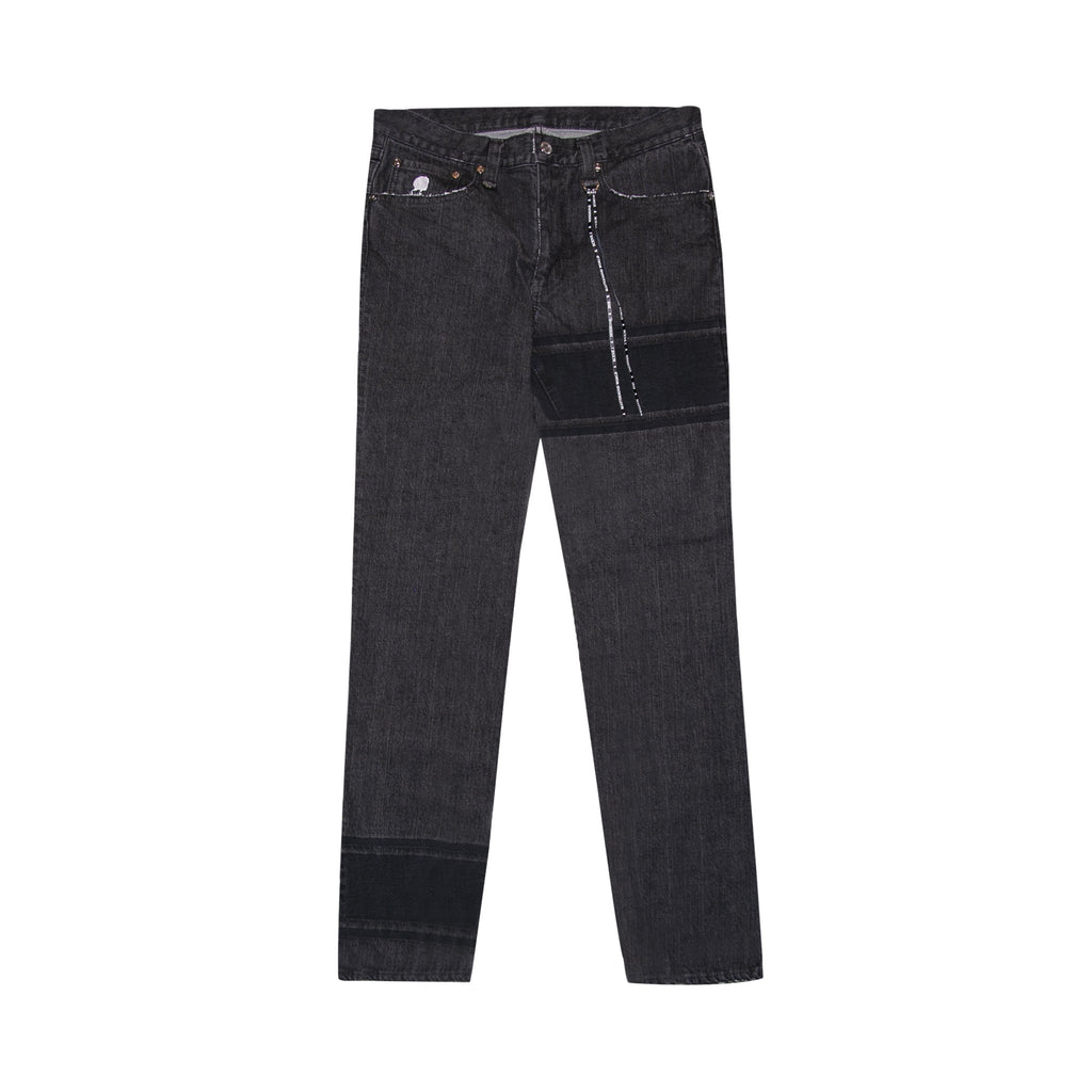 MASTERMIND WORLD BANDED DROP REAR LOGO JEANS - BLACK