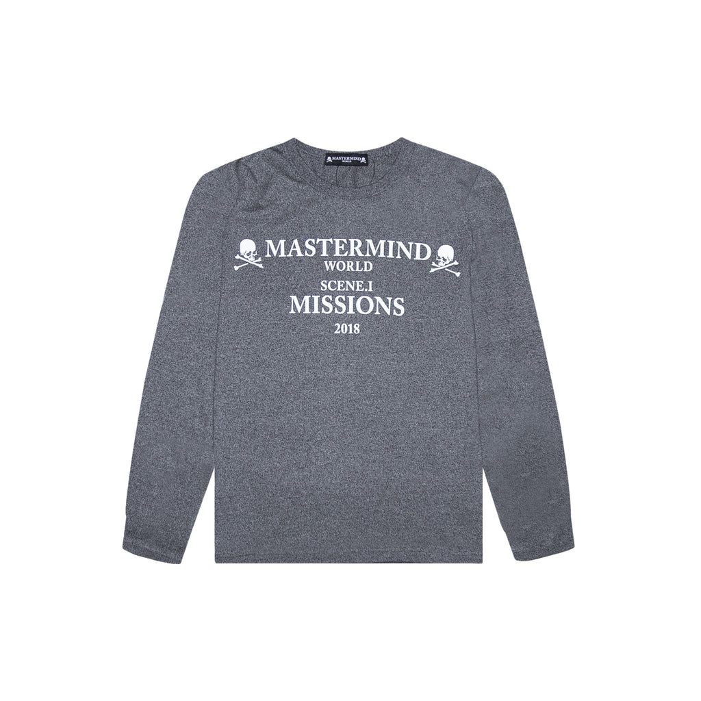 MASTERMIND WORLD MISSIONS LOGO LONG SLEEVE TEE - GRAY
