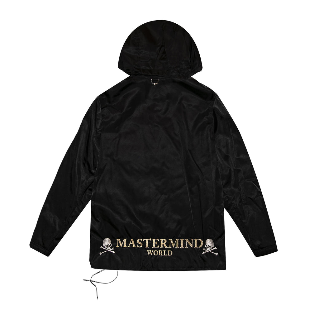 MASTERMIND WORLD SKULL EMBROIDERED COACHES JACKET WITH HOOD - BLACK