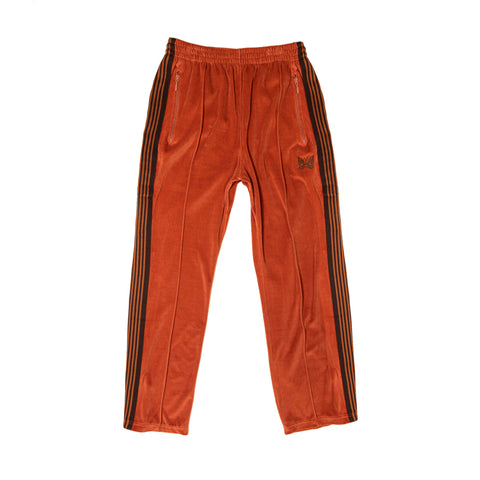 NARROW TRACK PANT C/PE VELOUR - BRICK