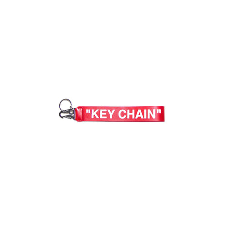 QUOTE LEATHER KEY CHAIN - RED/ WHITE