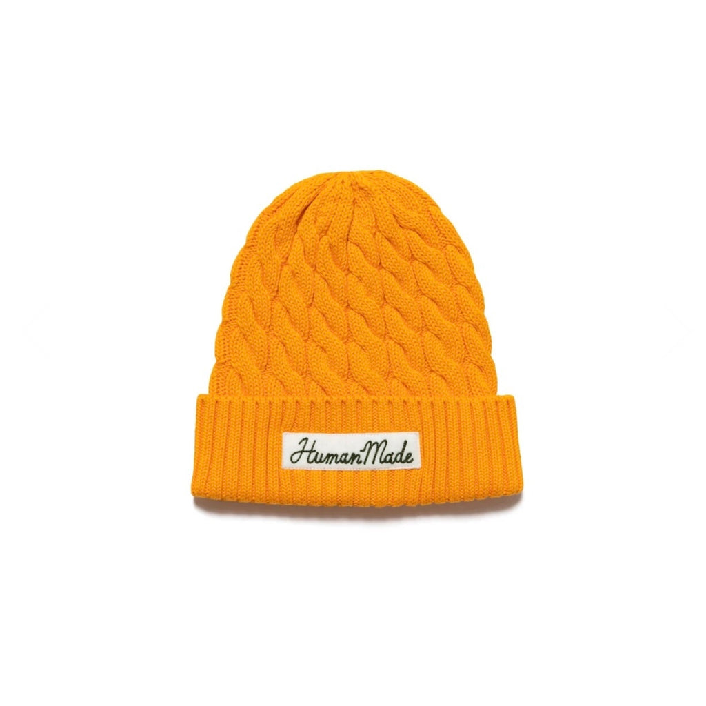 HUMAN MADE COTTON CABLE BEANIE - ORANGE
