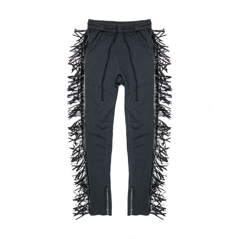 ROCKY RIDERS LEATHER FRINGE JOGGER - VINTAGE  BLACK