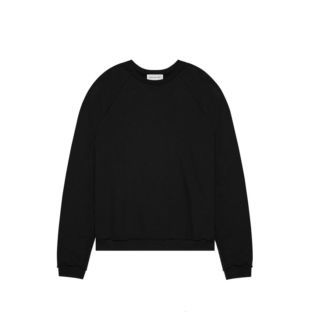 RAW EDGE RAGLAN CREW - BLACK