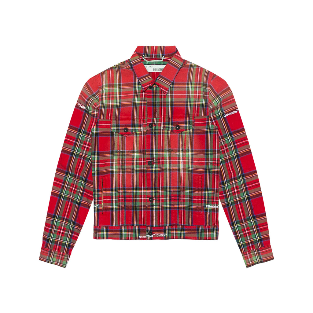CHECK OVER JACKET - RED