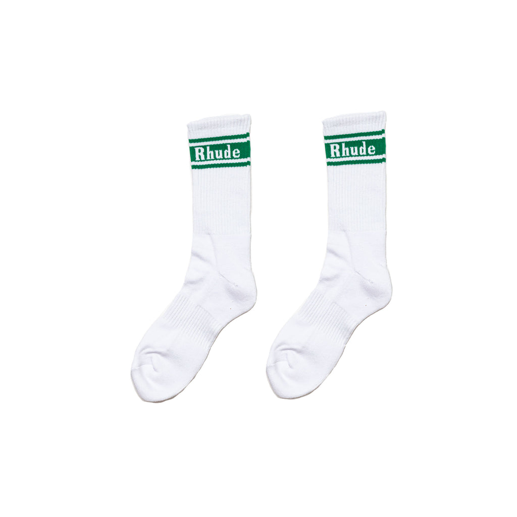 GREEN STRIPE SOCKS -  WHITE