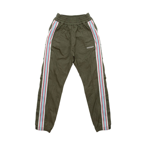 Readymade side snap track pant green color with red & white stripes - front