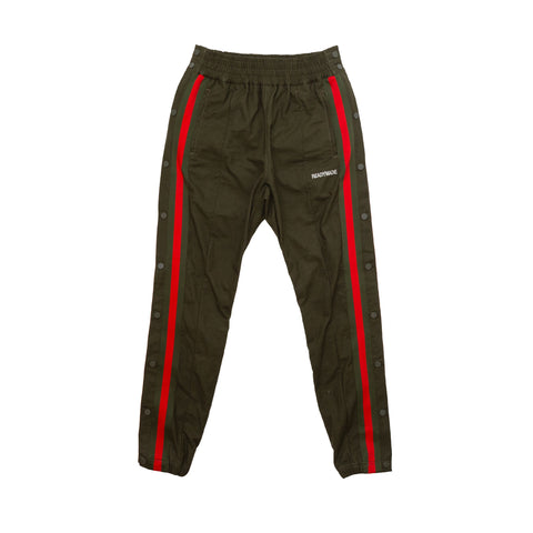 SIDE SNAP TRACK PANT - GREEN W/ RED/GREEN