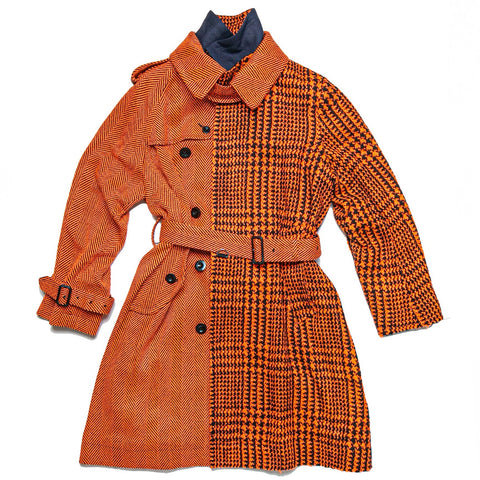 GLENCHECK COAT -  BLACK/ ORANGE