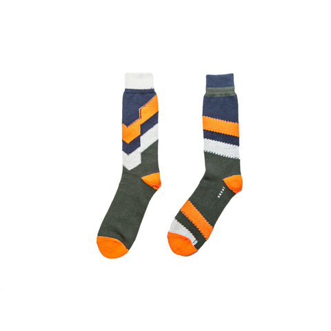 STRIPE SOCKS - NAVY/ BEIGE