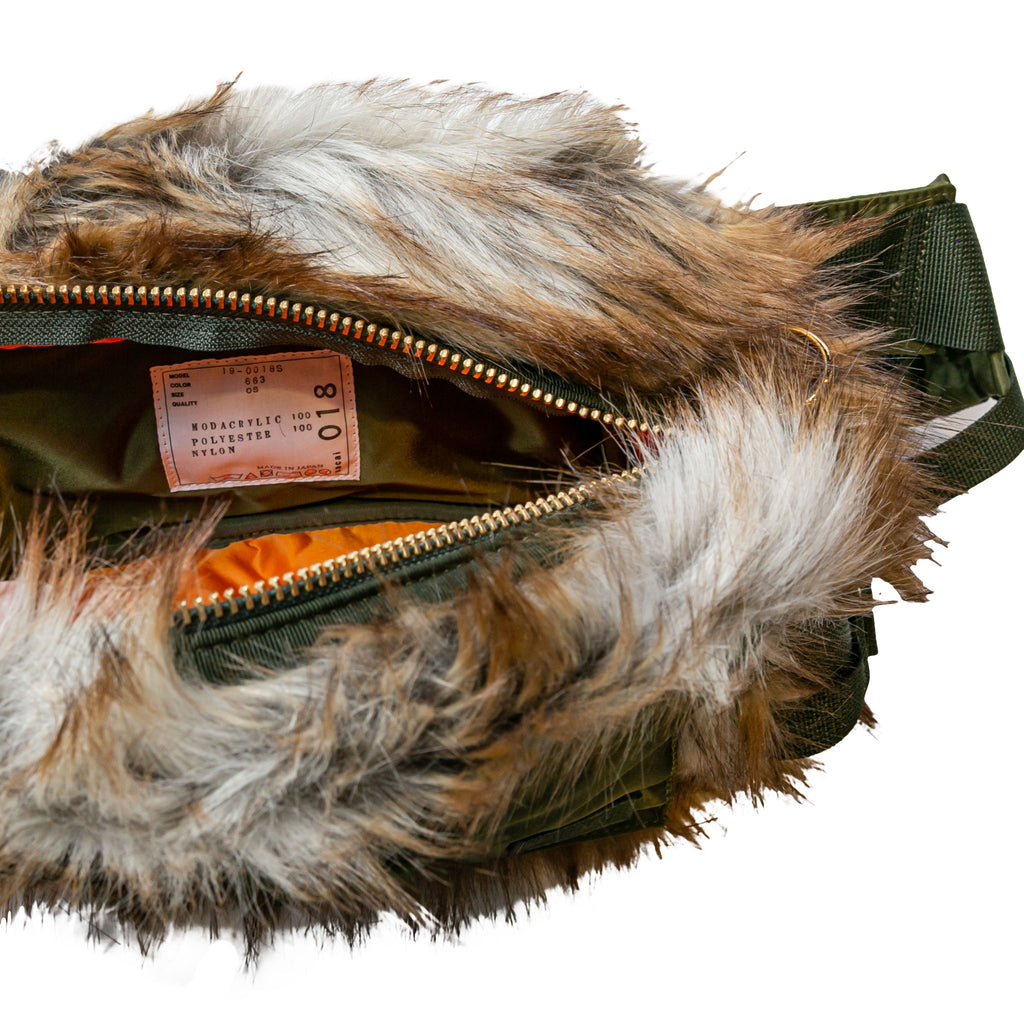 FAUX FUR WAIST BAG - BEIGE