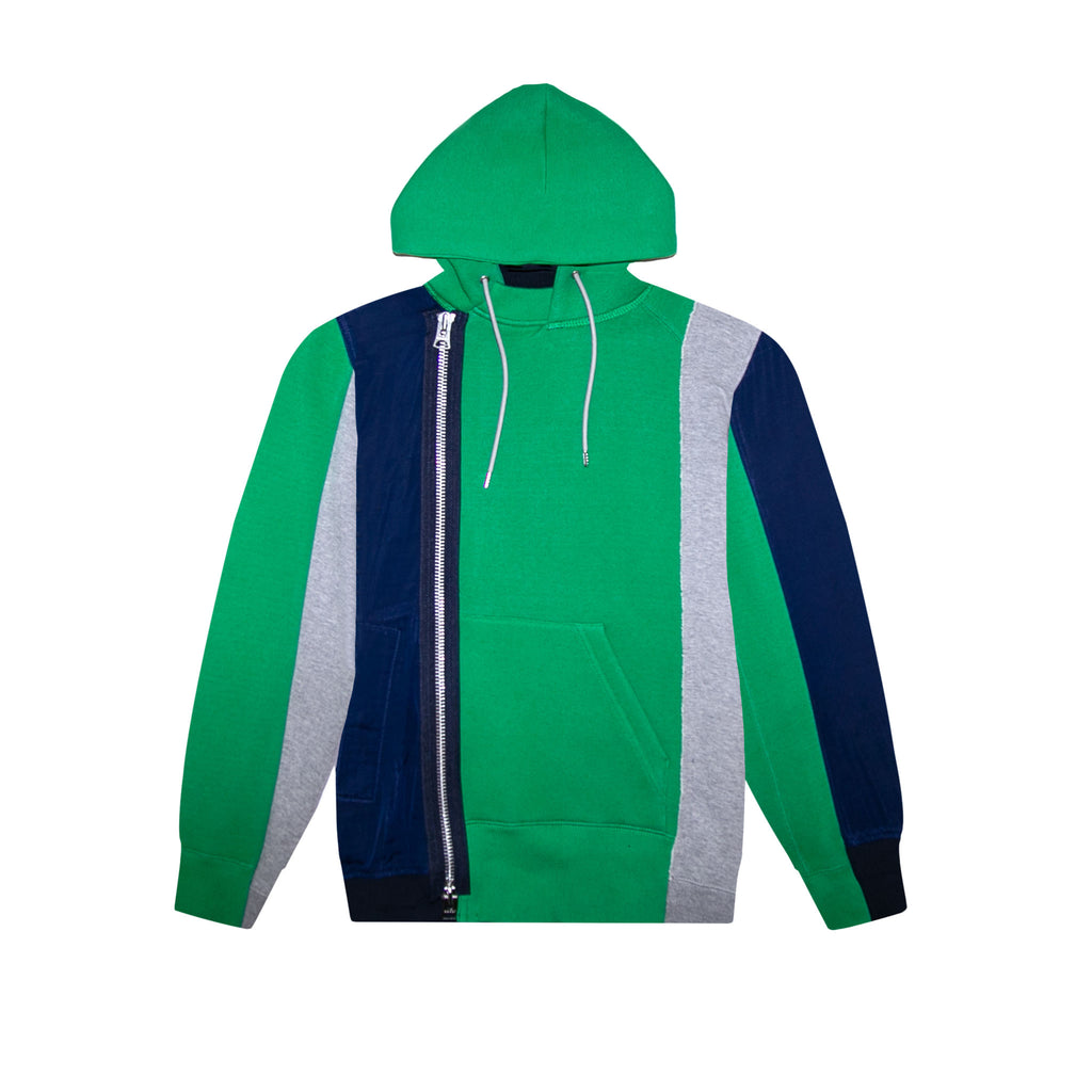 SPONGE SWEAT HOODIE - GREEN/ NAVY